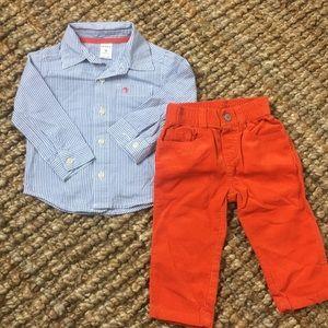 NWOT Carter's matching set orange corduroy pants